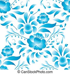 White-and-blue elegance seamless pattern in Russian style gzhel (vector)