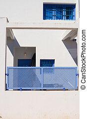 White and blue facade