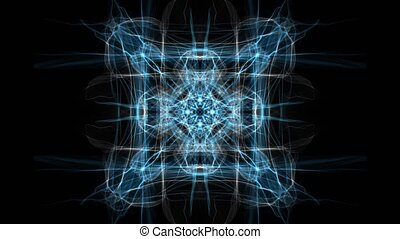 White and blue fractal square ornament on black background. Nice symmetric ornament in slow calming motion