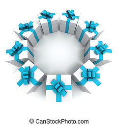 White and blue gift boxes circle