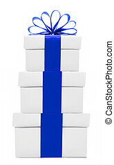 White and blue gift boxes stacked