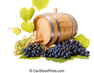 White and blue grape clusters around barrel, leaves...