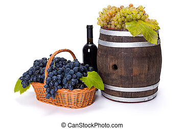 White and blue grape in basket with barrel - White and white...