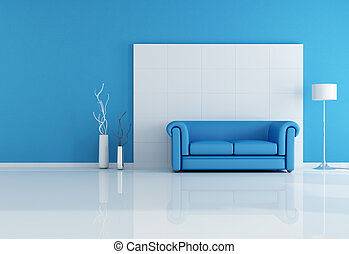 white and blue living room - minimal blue interior with ...