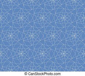 White and blue seamless linear abstract geometrical lattice pattern background for fabric, wallpaper, scrapbooking projects or backgrounds.
