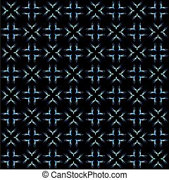 white and blue seamless pattern on black background