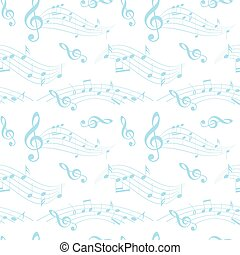 white and blue seamless pattern with wavy music notes -...