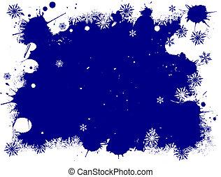 White and Blue SnowFlake Grunge