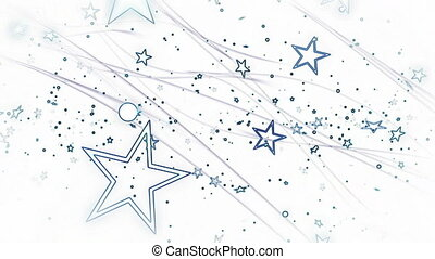 White and blue stars abstract loop