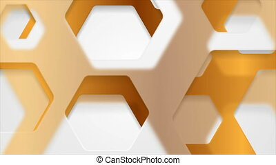 White and bronze papercut hexagons abstract background. Corporate geometric paper motion design. Video animation Ultra HD 4K 3840x2160