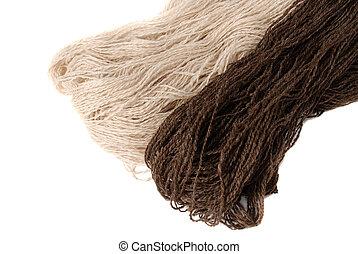 homespun yarn - white and brown homespun yarn