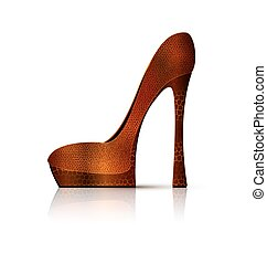 white and brown shoe - white background and the ladys brown...