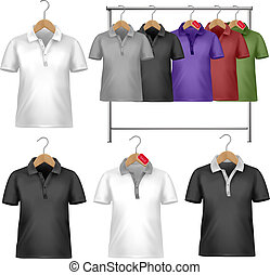 White and colorful t-shirt design template. Clothes hanger with shirts with price tags. Vector illustration.