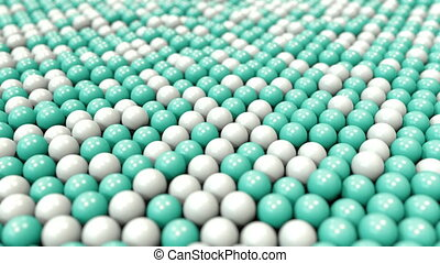 White and cyan plastic balls, loopable motion background -...