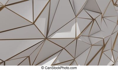 White and gold abstract low poly triangle background 4k