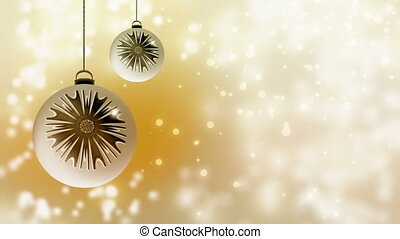 White and gold Christmas decoration with dynamic golden...