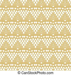 White and gold lace seamless mesh pattern. Vector...