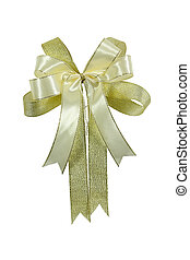 White and Gold ribbon bow isolated.