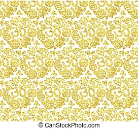 White and gold seamless pattern with OM
