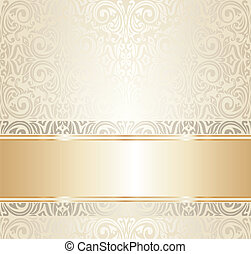 white and gold wedding ivitation
