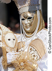 White and golden mask at Carnival of Venice
