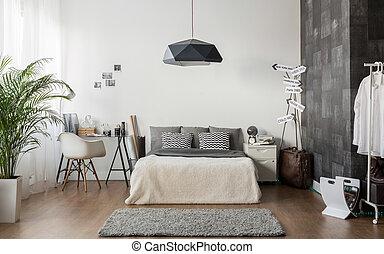 White and gray cozy bedroom