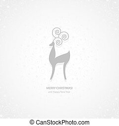 White and gray deer Christmas background