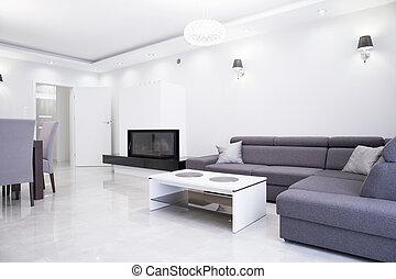 White and gray interior