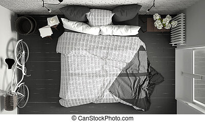 white and gray modern bedroom with cozy double bed brick wall wooden floor bed top view50 top