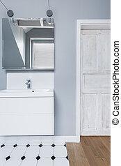 White and gray toilet