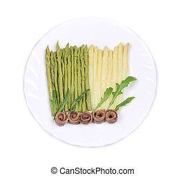 White and green asparagus with anchovies.
