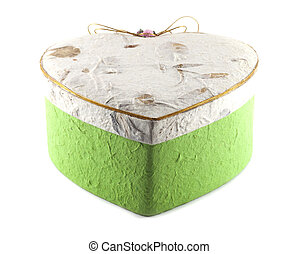 White and green heart box mulberry paper
