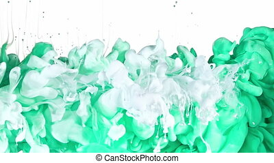 White and Green Ink in Water - White and Green inks are...