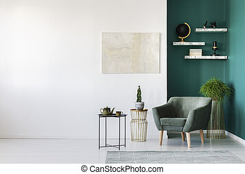 White and green interior