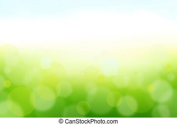 White and green bokeh abstract background