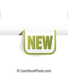 white and green rounded rectangle bookmark for new item in your eshop