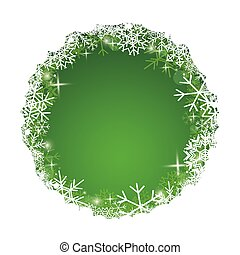 white and green vector background with decorative snowflakes in frame for christmas holidays
