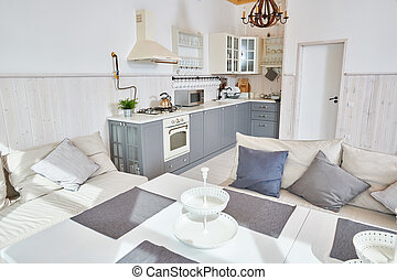 White and Grey Open Kitchen Interior