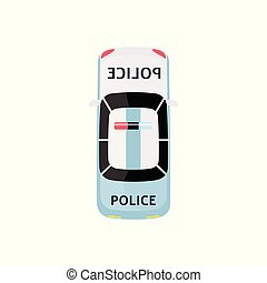 White and light blue police car - top view of law enforcement vehicle with siren on the roof