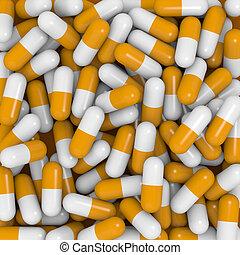 White and orange capsules - Closeup view of white and orange...