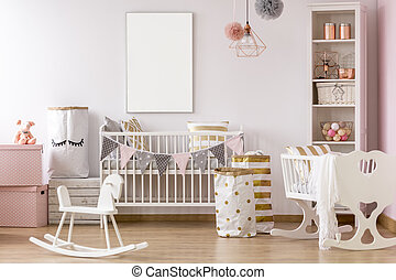 White and pink baby room