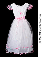White and pink flower girl wedding dress on black background...