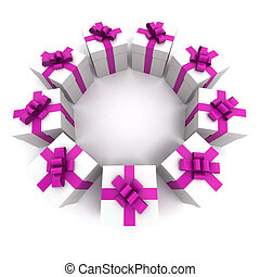 White and pink gift boxes circle