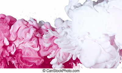 White and Pink Ink in Water - White and Pink inks are mixed...