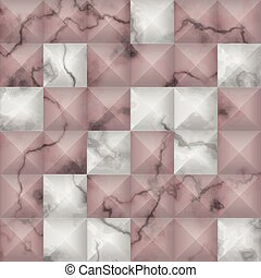 White and pink marble 3d geometric seamless pattern