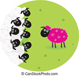 Stylized vector illustration of sheep family. The pink sheep is different and is standing alone. New hair color or genetic modification?