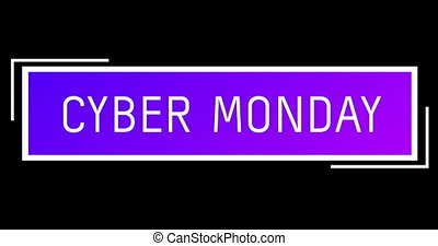 White and purple Cyber Monday text appearing against black ...