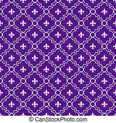 White and Purple Fleur-De-Lis Pattern Textured Fabric...