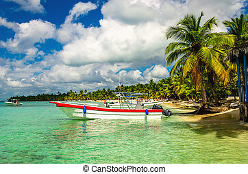 White and red boat on shore of Caribbean Islands, Dominican ...