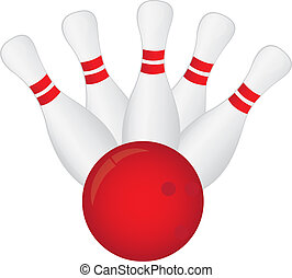 bowling - white and red bowling isolated over white ...